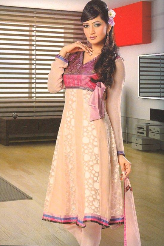 Anarkali Style Full Sleeves Peach and Purple Churidar Salwar Kameez