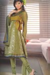 Olive Green Anarkali Churidar Salwar Kameez for Party And Festival