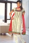 Green and White Short Churidar Salwar Kameez with red Dupatta