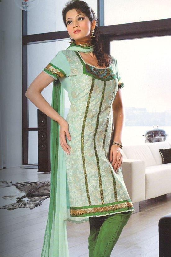 Green Square Neck Churidar Salwar kameez with Matching Dupatta Piece
