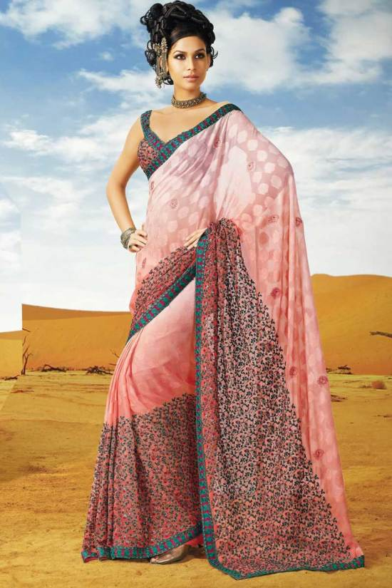 Latest Saree Blouse with Fancy Designer Saree for Deepavali 2010