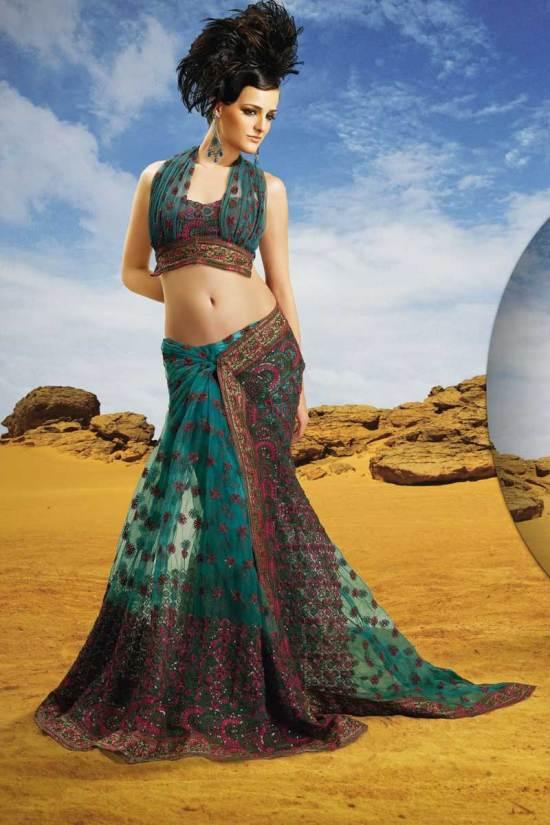 Net Lehenga Style Designer Diwali Saree 2010