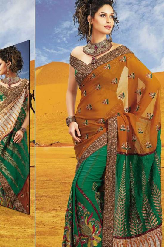 See Green Latest Embroidered Designer Deewali Saree 2010
