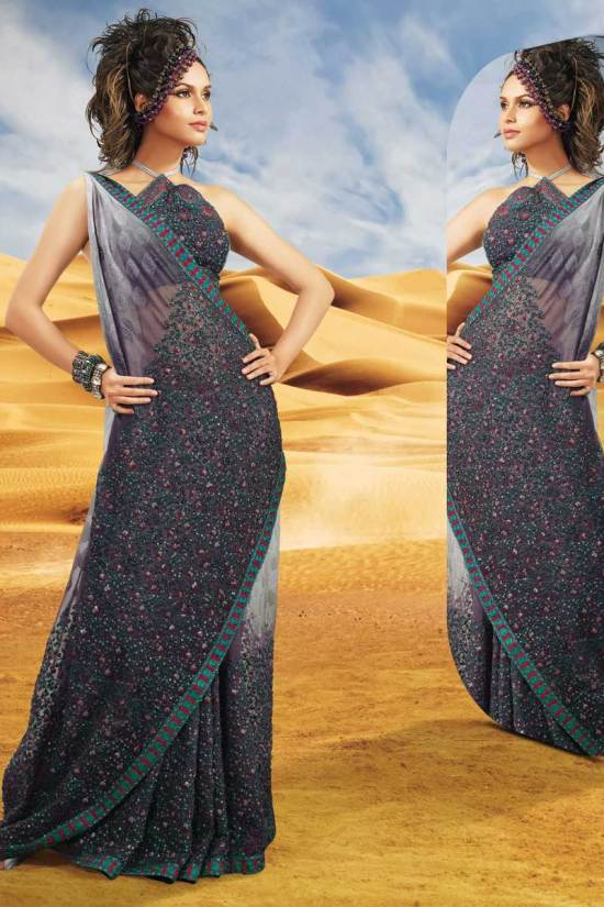Latest Faux Georgette Designer Saree for Diwali 2010