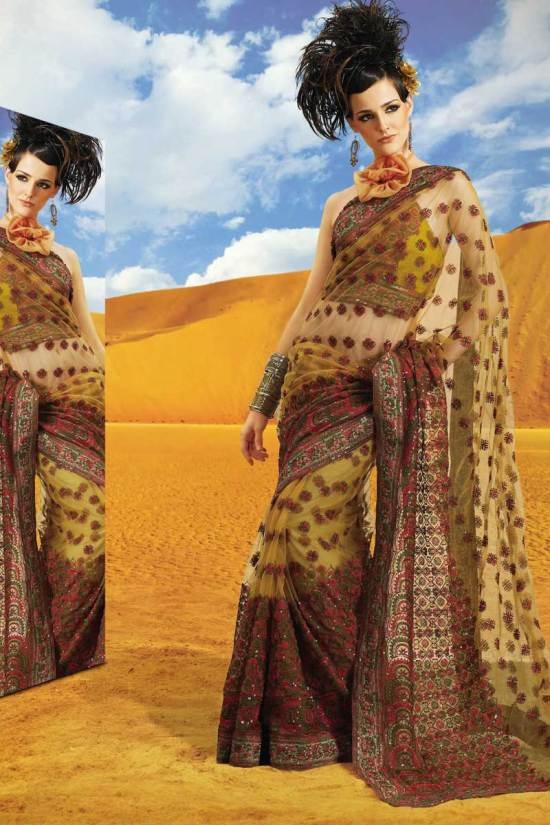 Latest Diwali Saree in Brown Color and in Net Fabric