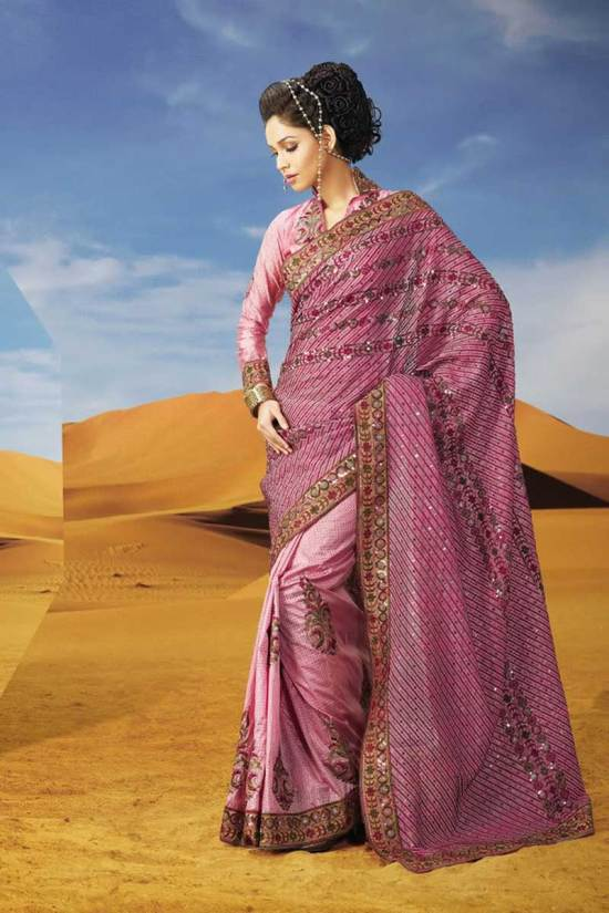 Pink Deepavali Saree with Full Sleeves Saree Blouse