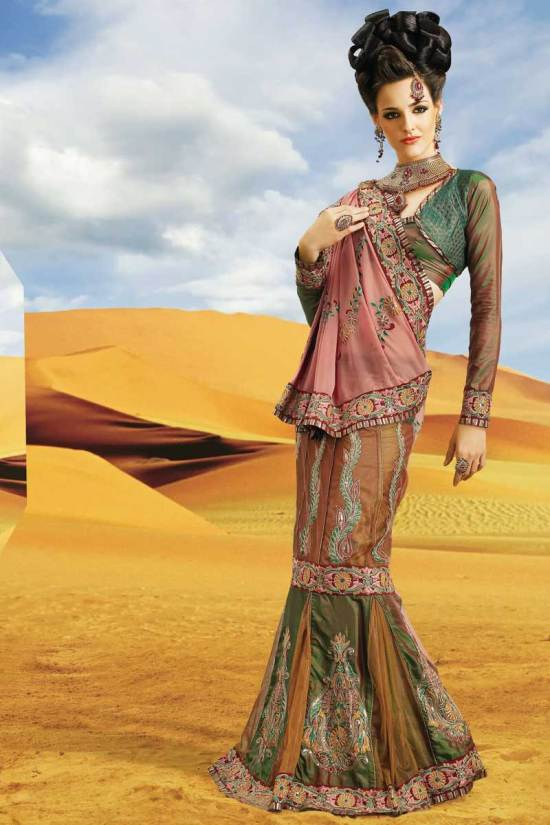 Latest Lehenga Style Saree for Diwali 2010