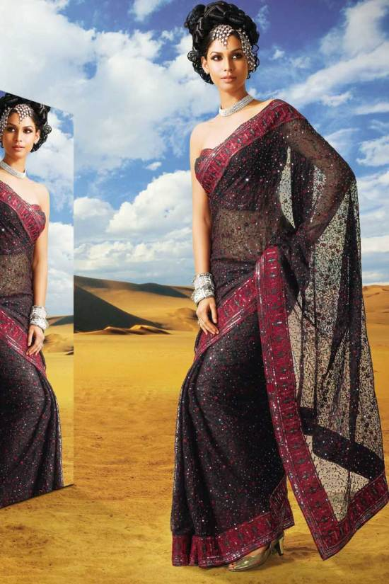 Black Net Saree for Diwali 2010 with Red Saree Border