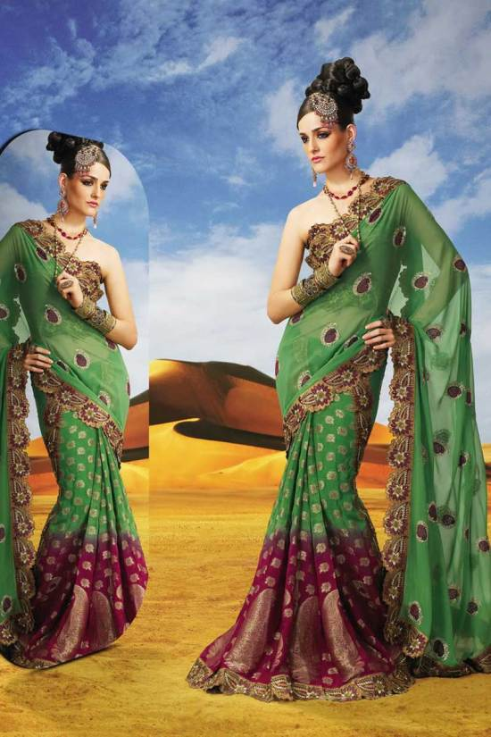 See Green Faux Georgette Designer Saree for Diwali 2010