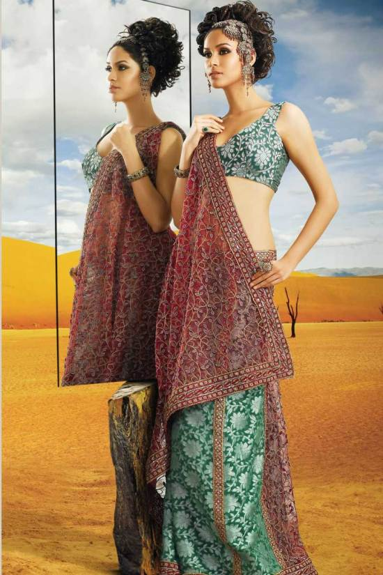 Green Lehenga Style Saree for Diwali 2010