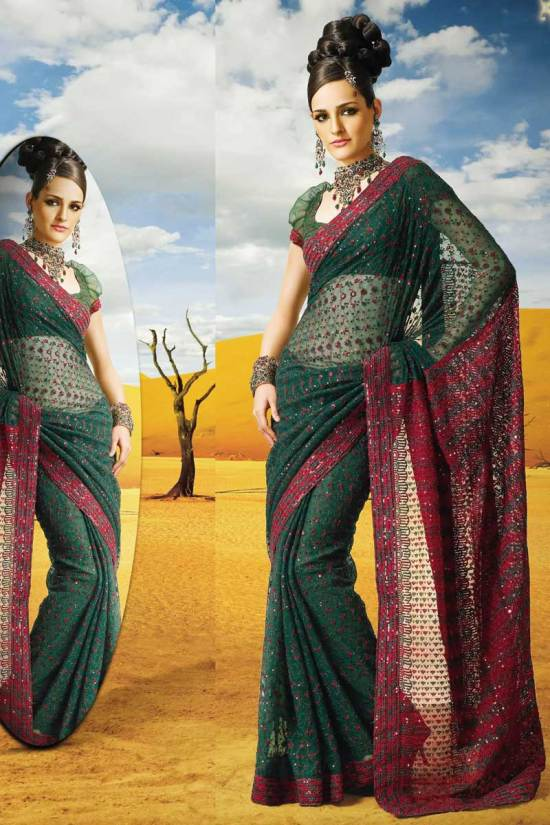 Latest Deepavali Sarees in Net Fabric and Green Color