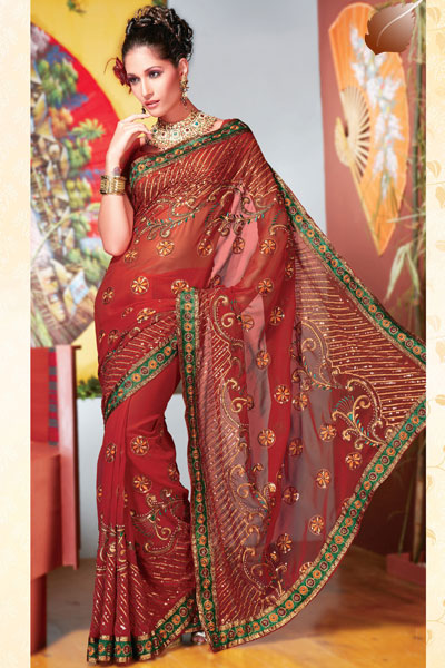 Red Diwali Sarees Fashions 2010 in Georgette Fabric