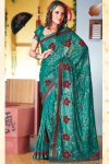 Teal Blue Party Wear Diwali Sarees Collection 2010
