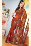 Latest Sarees Fashion For Diwali in Faux Georgette Fabric