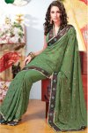 Latest Diwali Sarees for 2010 in Green Color and in Faux Georgette