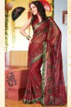 Red Shimmer Georgette Diwali Special Sarees Collection 2010