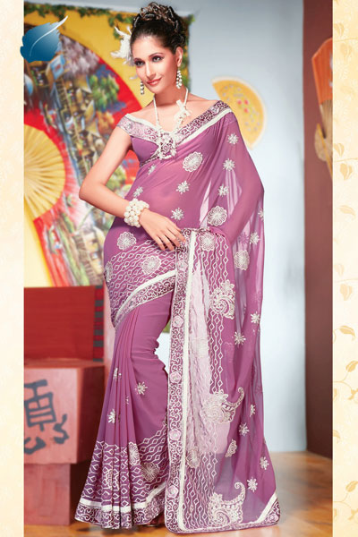 Faux Georgette Diwali Sarees Collection 2010