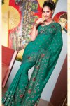 Latest Teal Faux Georgette Diwali Sarees Collection 2010