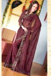 Diwali Fashions Sarees in Cordovan Brown Color and Faux Georgette fabric