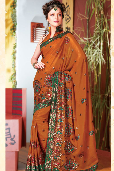 Stunning Diwali Sarees in Orange color for Dipawali 2010