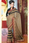 Brown Diwali Salwar Kameez with Black Full Sleeves Blouse