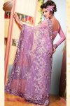 Latest Violet Net Embroidered Sarees for Diwali 2010