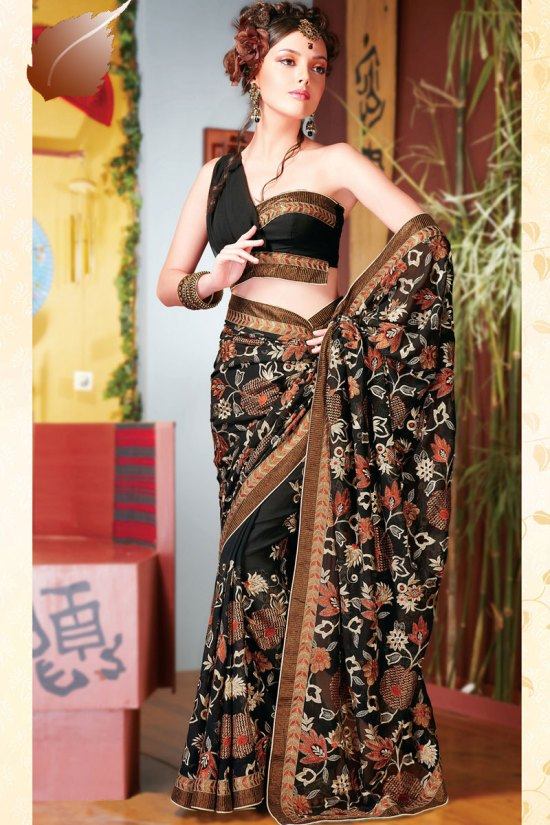Diwali Designer Black Saree with Embroidery Work and Matching Blouse
