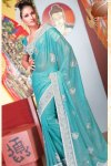 Designer Sky Blue Diwali Sarees collection 2010