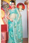 Designer Net Sky Blue Diwali Sarees 2010 with Matching Blouse Piece