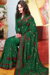 Green Faux Georgette Diwali Sarees fashion 2010