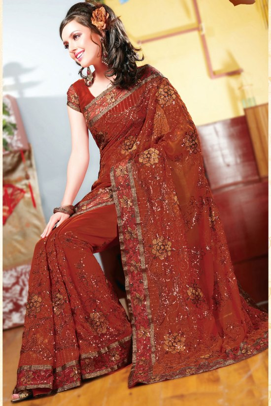 Persian Red Designer Diwali Sarees Collection 2010