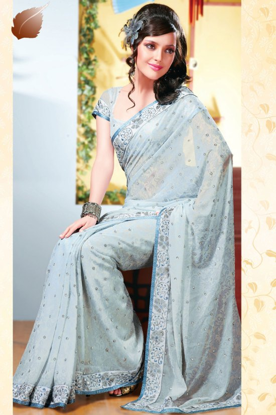 Faux Georgette Saree for Diwali 2010 in Baby Blue Color