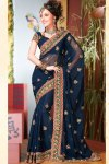 Blue Heavy Bordered Diwali Sarees Collection 2010