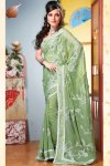 Moss Green Faux Georgette Diwali Sarees Collection 2010