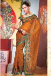 Bronze Brown Embroidered Designer Diwali Sarees Collection 2010