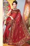 Red Part Wear Saree for Diwali 2010 in Faux Georgette Fabric