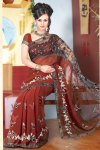 Net and Georgette Diwali Sarees Collection in Rust Brown Color