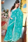 Blue Faux Georgette Designer Saree For Diwali 2010