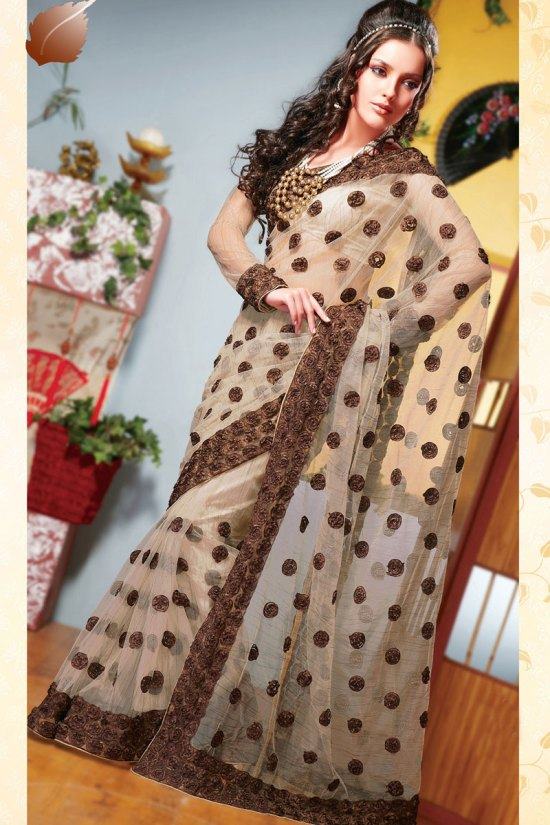 Net Khaki Brown party Wear Saree for Diwali 2010