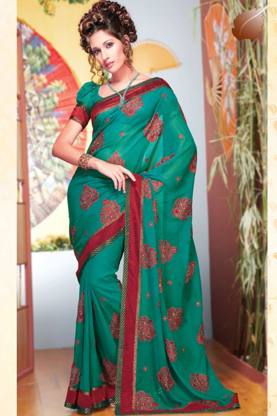 Blue Embroidered Faux Georgette Diwali Sarees Collection 2010