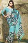 Blue Abstract Printed Saree with Full Sleeves Designer Saree Blouse