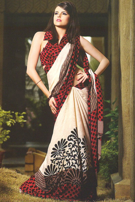Brown and Red Light Embroidered Printed Saree with Sleeveless Saree Blouse