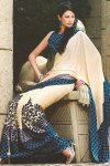 Blue and Brown Light Embroidered Saree with matching Blouse Piece