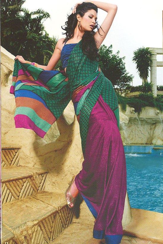 Multicolor Printed Saree with Matching Saree Blouse Piece