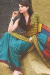 Lemon Yellow and Blue Designer Printed Saree with Saree Blouse