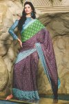 Latest Printed Saree with Matching Full Sleeves Saree Blouse Designs