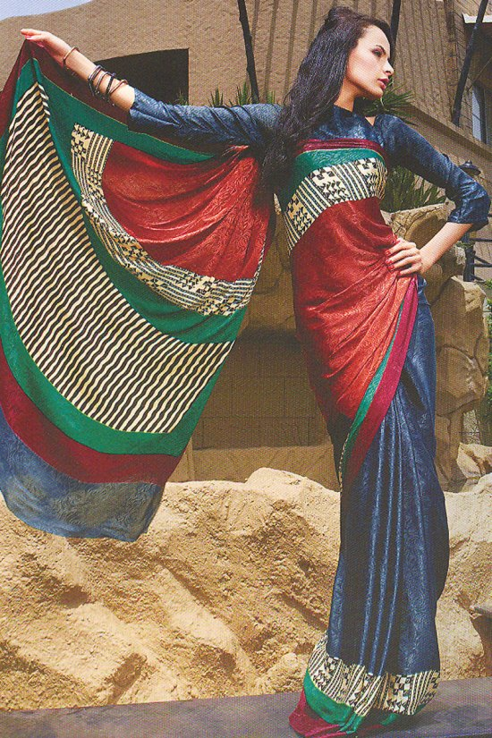 Red and Deep Blue Printed Saree with Full Sleeves Saree Blouse