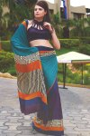 Latest Blue Trendy Party Wear Printed Sarees 2010