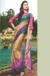 Brown Printed Saree with Matching Pink Saree Blouse