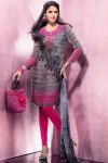 Pink and Black Churidar Salwar Kameez 2011